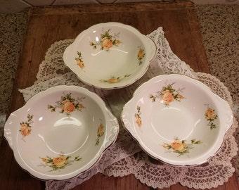 Set of 3 Yellow Rose Bowls