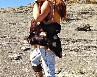 FREE SHIPPING!!! Fur leather bag,two-side,bolso de piel de 2 caras reversible,boho,hippie,chic,ethnic,tribal,gypsy,étnico