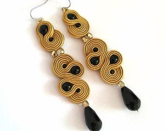 Golden earrings, black earrings, drop earrings, boho long earrings, golden boho earrings, black boho earrings, soutache earrings, for her,