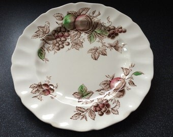"""Johnson Bros. HARVEST TIME 10"""" Dinner/Cake/Sandwich Plate. Pretty Autumnal Colours. Made in England."""