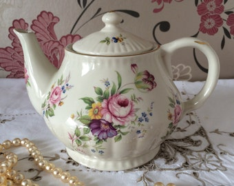 Large Cream Floral Fluted Teapot. Gilt Trim. Holds 6-7 Cups.