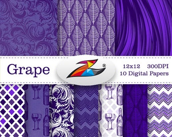 Sale Wine digital paper decoupage paper commercial use Grape Digital Background Purple pattern Grapes Paper digital download