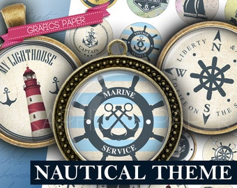 "Nautical theme, anchors, rudders, sea, sailing - download digital collage sheet - td383  1.5"", 1.25"", 30mm, 1 inch - Circle Bottle cap image"