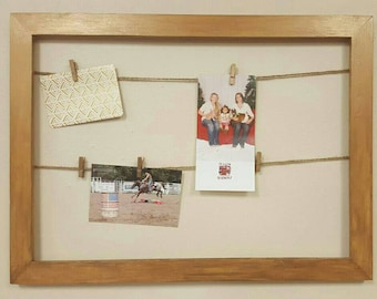 Rustic Painted Frame with Mini-Clothespin Clips for hanging Photos, Cards, Etc.