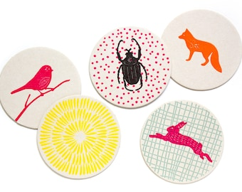 Letterpress Coaster Set | Woodland Animals | Set of 10