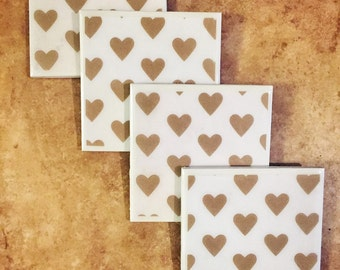 Gold Heart Tile Coasters