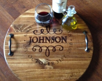 Wine Barrel Tray, Wooden Serving Tray, Personalized Wooden Serving Tray, Custom Wooden Tray, Serving Tray, Gifts For Her, Wooden That Be Fun