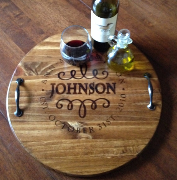 Wine Barrel Tray Wooden Serving Tray Personalized Wooden
