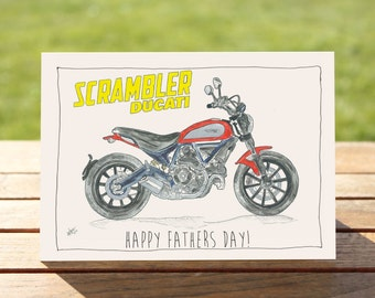 "Motorcycle Father's Day Card - Ducati Scrambler | A6 Measures: 6"" x 4"" / 103mm x 147mm 