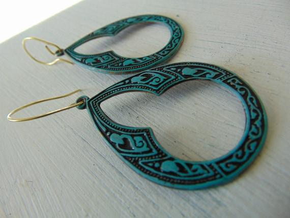 Vedigris Brass Art Deco Earrings