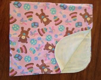 Baby Receiving Blanket - Bears, Pink, Girl