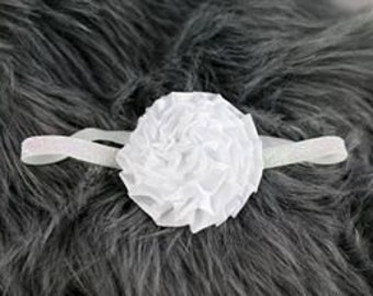White Satin Carnation Flower Headband Photo Prop