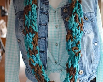 Teal and Brown Crocheted Infinity Scarf - Chenille