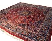 9.6x9.6 Vintage Persian Mashad Area Rug - home decor, square rug, mashad, 1980s, vintage persian rug, hand knotted rug, traditional decor