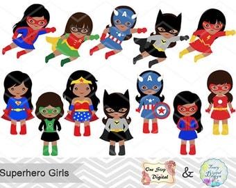 27 Little Girl Superheros Digital Clip Art, Girls Superhero Clipart, Superhero Party Super Hero Africa American Superhero Girls Clipart 0206