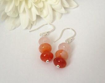 Rose quartz and fire agate rondelle earrings