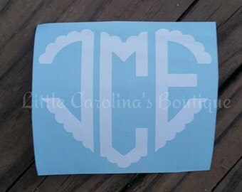 Heart Scalloped Monogram Decal