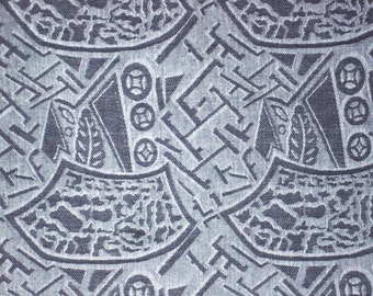 Jacquard No.1/2(Large)-Cotton Woven Yarn Dyed-Dark Grey Color-Garment supply-Handcraft material-Multi purpose supply-2Yards