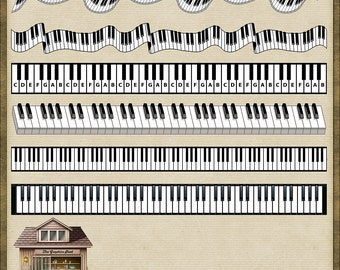 6 Piano Key Trims PNG *Instant Download*