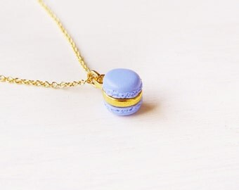 Elfi Handmade Cute Mini Purple Macaron Pendant Necklace Miniature Dessert Food Jewelry perfect for Christmas gifts, Kawaii, Best selling