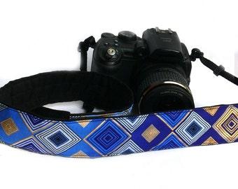 Camera Strap. DSLR Camera Strap. Black Gold Blue Camera Strap. Padded Camera Strap. Fashion Camera strap.  Camera Accessories