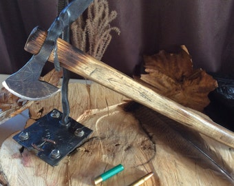 Hand Forged display stand for axe, or Tomahawk