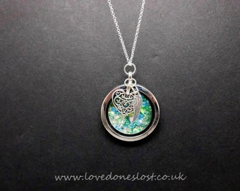 Cremation jewellery, locket on a 20 inch sterling silver chain
