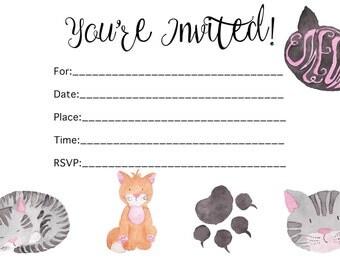 Cat's party invitation printable | cats | meow | jw | printable invitation | 0024