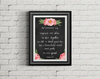 Ecclesiastes 4:12 Bible Verse Quote | Three Fold Cord | JW | Wedding Bible Quote Jehovah | Print | Baptism Gift | 0054