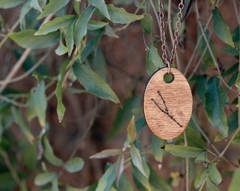 Taurus Constellation Pendant Necklace with 18 Inch Chain // Accessories // Wooden Pendant // Zodiac Constellation // Natural Materials