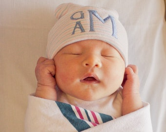 Newborn hat boy - hospital hat boy - personalized baby boy - newborn boy coming home outfit hat - newborn monogram - baby boy hospital hat