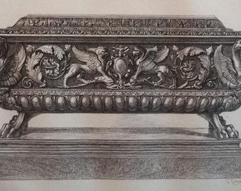 1884 original print - Coffret en forme de coffre de mariage - Small box in the forme of a marriage box - Thiers au Louvre - Wood renaissance