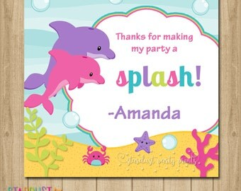 Dolphin Party Favor Tags, Dolphin Printable Favor Tags, Under the sea favor tags