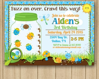 Bugs Invitation, Bugs Birthday Invitation, Bugs Birthday, Bugs Party, Boy Bugs Invitation