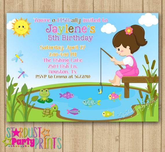 Fishing Invitation Girl Fishing Birthday Invitation Fishing