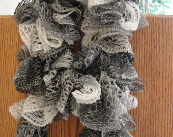 "Handmade Crochet Scarf for every occasion in black, gray and white. 80"" long."