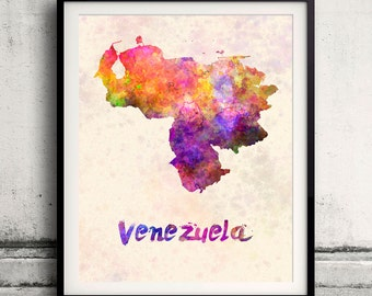 Venezuela - Map in watercolor - Fine Art Print Glicee Poster Decor Home Gift Illustration Wall Art Countries Colorful - SKU 1733