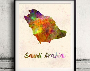 Saudi Arabia - Map in watercolor - Fine Art Print Glicee Poster Decor Home Gift Illustration Wall Art Countries Colorful - SKU 1806