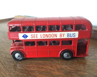 Vintage Red Lone Star London Double Decker Bus Die Cast Toy Car Collectible Made in England