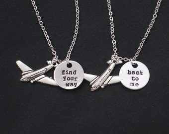 2 best friends necklaces, find your way, back to me, airplane charm, necklace set of two, mother daughter, friendship, sisters long distance