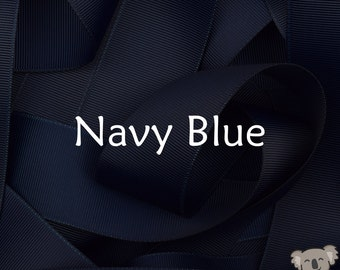 Navy Blue Grosgrain Ribbon 3 Metre Cut, FREE Shipping, 64 Colours in 7 Widths Available