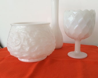 Vintage Instant Collection Milk Glass Set of 3/Brody Glass Cleveland