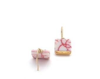 Ceramic earrings, porcelain earrings, Red and white, ceramic jewelry, porcelain jewelry, gift for her, by OeiCeramics