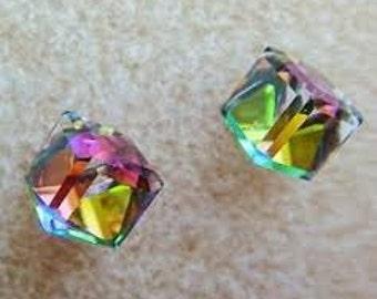 Swarovski Crystal Multi coloured Sterling Silver Stud Earrings