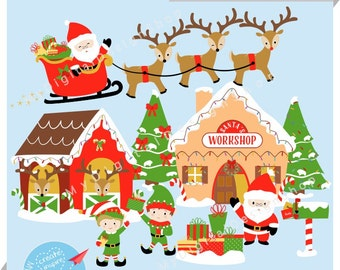 Santa's Workshop & Reindeer Stable Clipart, Vector EPS PNG Image,Personal and Commercial, Digital Download |C057