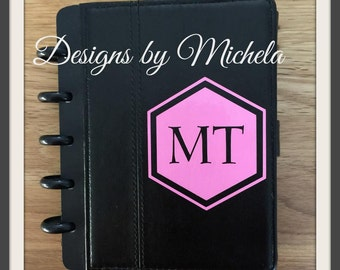 Small Leather Monogrammed Disk Bound Notebook/Journal - GF070