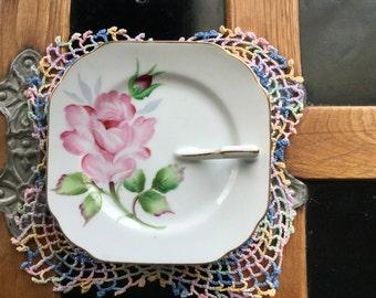 Vintage Lefton China hand Painted Pink Rose #NE368A Japan