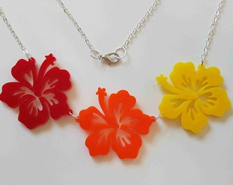 Tropical Hibiscus Flower Necklace - Multi Acrylic