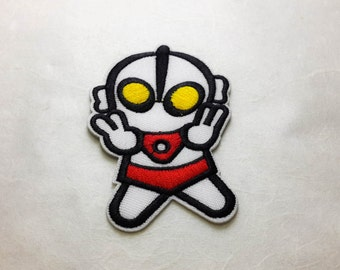 Ultraman Iron on Patch (L)#T1- Ultraman Cartoon Applique Embroidered Iron on Patch- Size 5.5x8.2 cm