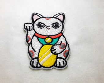 Japanese Lucky Cat Sign Iron On Patch (L) - Lucky Cat Sign Embroidery Applique - Size 6.4x9.6 cm